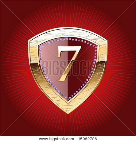 Shield in gold with alphabet digit 7