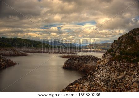 Gordon Dam during a pleasant overcast day