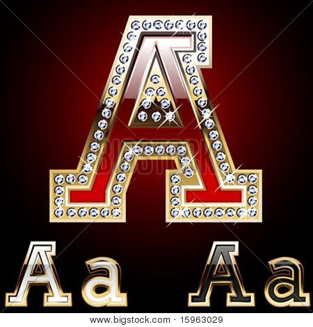 Detailed letters of gold and diamond