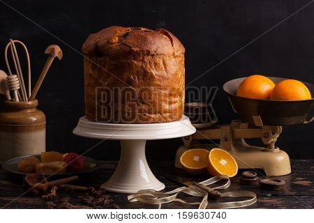 Panettone. Traditional Italian Christmas cake with orange candied fruit raisins and cinnamon.