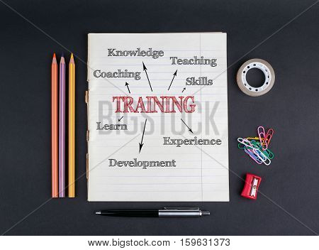 Training concept. On a black background copybook, pencils, pen, adhesive tape and paper clips.