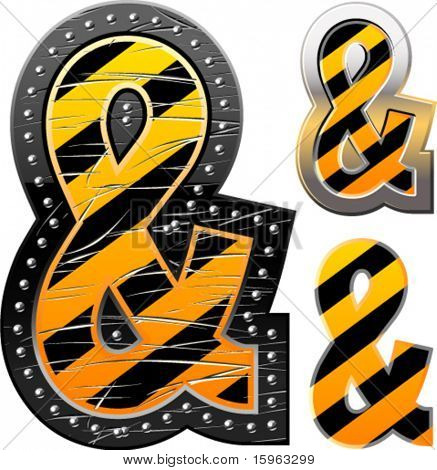 Text symbols in black and yellow danger stripes