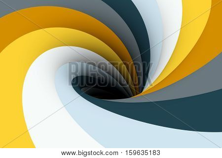 black hole in the yellow honey color 3D illustration