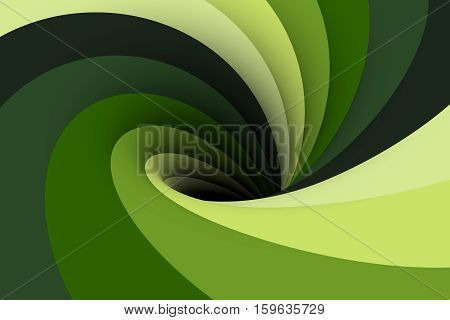 black hole is in a contrasting green color 3D illustration