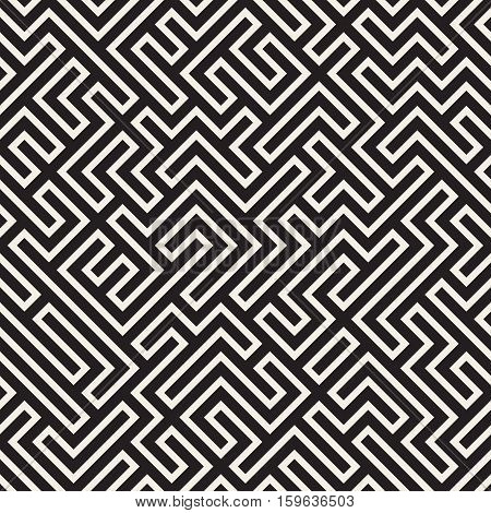 Irregular Mazy Line. Abstract Geometric Background Design. Vector Seamless Black and White Pattern.