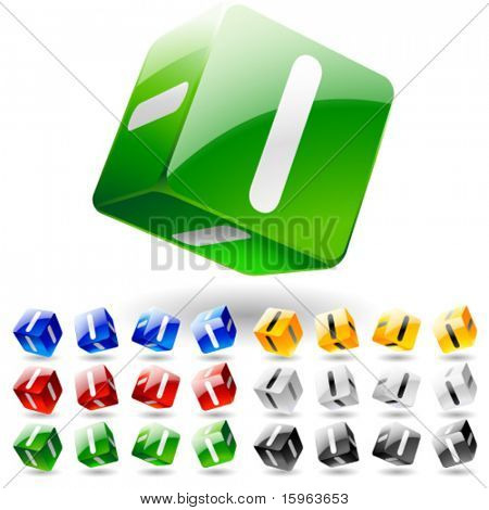 Glossy alphabet on a cubes. Letter i