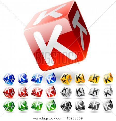 Glossy alphabet on a cubes. Letter k