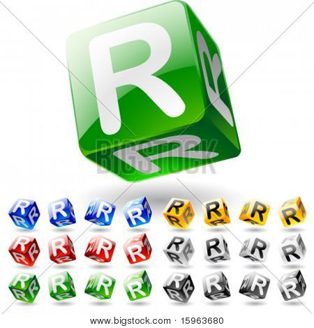 Glossy alphabet on a cubes. Letter r
