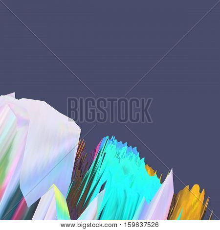 Background of glitch manipulations. Abstract landscape in white green orange colors on a purple background. it can be used for web design and visualization of music