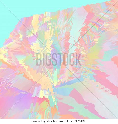 Background of glitch manipulations. Abstract shapes in rainbow colors on menthol background. It can be used for web design and visualization of music.