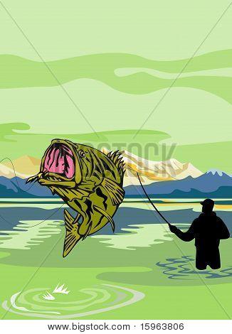 Largemouth Bass Fish jumping reeled by Fly Fisherman