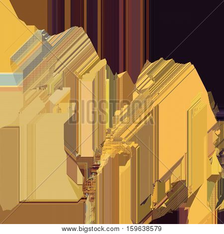Texture of glitch manipulations.Modern background with dead pixel and bug glitch stripes of golden and brown shades. It can be used for web design and visualization of music.