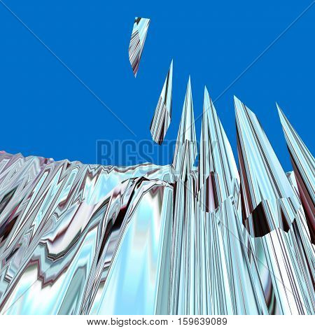 Background of glitch manipulations with 3D effect. Abstract landscape with sharp peaks in blue shades. It can be used for web design and visualization of music.