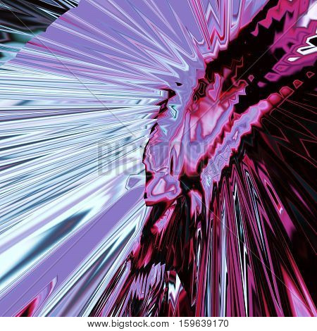 Background of glitch manipulations with 3D effect. Abstract flow of crystals with glass texture in lilac and purple shades. It can be used for web design and visualization of music
