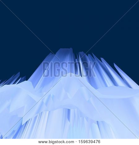 Background of glitch manipulations with 3D effect. Abstract landscape with sharp peaks in white and dark blue shades. It can be used for web design and visualization of music.
