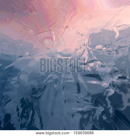Background of glitch manipulations with 3D effect. Abstract flow of crystals with glass texture in brown and purple shades. It can be used for web design and visualization of music