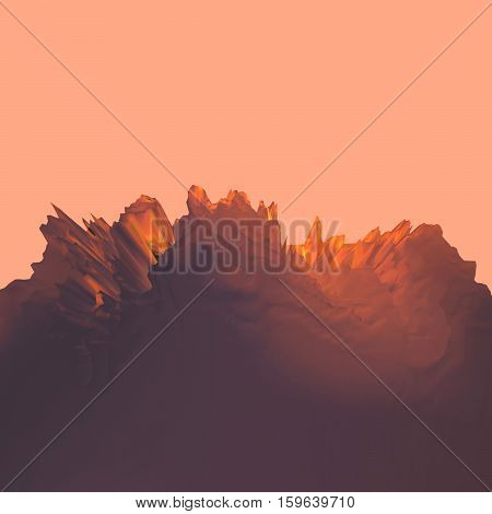 Background of glitch manipulations with 3D effect. Abstract landscape with sharp peaks. It can be used for web design and visualization of music.
