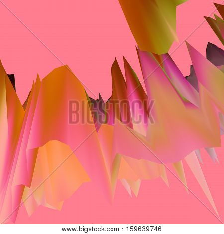 Glitch manipulations with 3D effect. Abstract flow of pink crystals. It can be used for web design and visualization of music