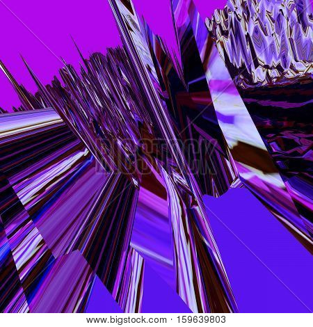 Glitch manipulations with 3D effect. Abstract flow of purple and lilac crystals. It can be used for web design and visualization of music