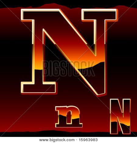 Dramatic dark sunset  styled alphabet letter n