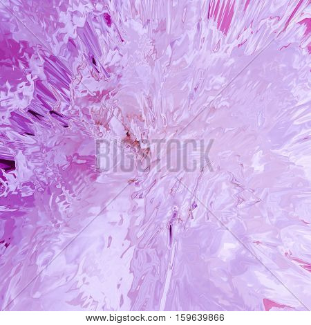 Background of glitch manipulations with 3D effect. Abstract flow of crystals with glass texture in pink shades. It can be used for web design and visualization of music