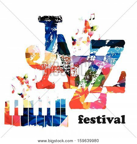 Colorful piano keys vector illustration, music instrument background with music notes. Jazz festival inscription. Jazz music concert poster. Jazz music lettering. Typographic music event invitation