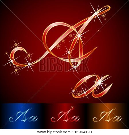 Ribbon styled vector gala alphabet. Applicable for dark and light background. Letter a