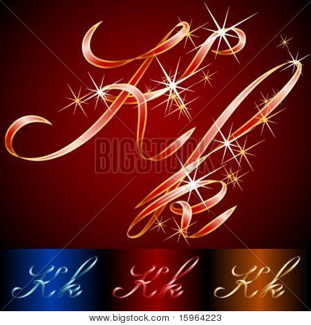 Ribbon styled vector gala alphabet. Applicable for dark and light background. Letter k