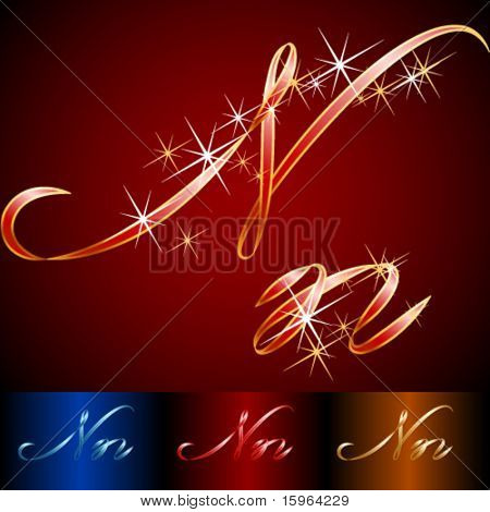 Ribbon styled vector gala alphabet. Applicable for dark and light background. Letter n