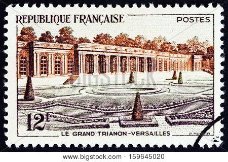 FRANCE - CIRCA 1956: A stamp printed in France shows Grand Trianon, Versailles, circa 1956.