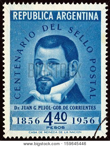 ARGENTINA - CIRCA 1956: A stamp printed in Argentina issued for the Centenary of 1st Argentine Stamps shows Dr. Juan Gregorio Pujol, Governor of the Province of Corrientes, circa 1956.