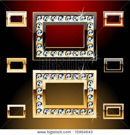 Vector illustration of boldest golden letters with shining diamonds. Character o