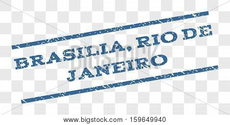 Brasilia, Rio De Janeiro watermark stamp. Text tag between parallel lines with grunge design style. Rubber seal stamp with scratched texture.
