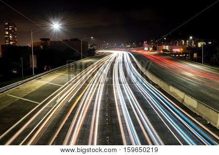 Light trails over H1 highway in Honolulu, Hawaii