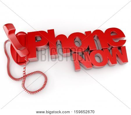 3D rendering of a blue telephone with the words phone now