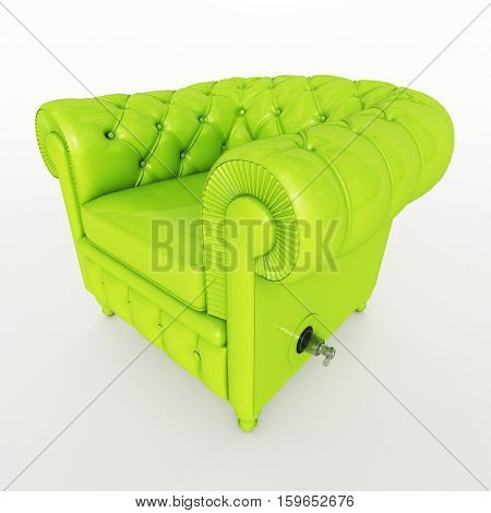 3D rendering of a classical club armchair in lime green color with an inflation valve
