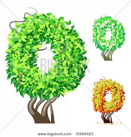 Vektor-Illustration eine zusätzliche detaillierte Baum Alphabet Symbole. Leicht abnehmbare Krone. Zeichen 0