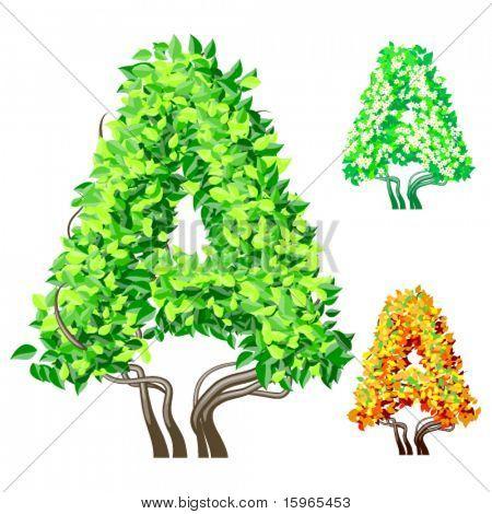 Vektor-Illustration eine zusätzliche detaillierte Baum Alphabet Symbole. Leicht abnehmbare Krone. Zeichen einer