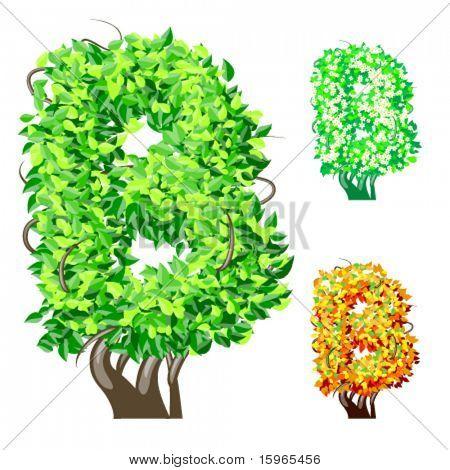 Vektor-Illustration eine zusätzliche detaillierte Baum Alphabet Symbole. Leicht abnehmbare Krone. Zeichen b