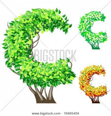 Vektor-Illustration eine zusätzliche detaillierte Baum Alphabet Symbole. Leicht abnehmbare Krone. Zeichen c
