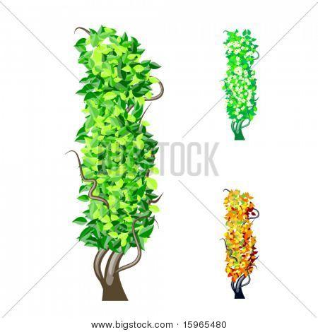 Vektor-Illustration eine zusätzliche detaillierte Baum Alphabet Symbole. Leicht abnehmbare Krone. Zeichen Sie ich