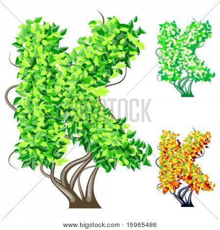 Vektor-Illustration eine zusätzliche detaillierte Baum Alphabet Symbole. Leicht abnehmbare Krone. Zeichen k