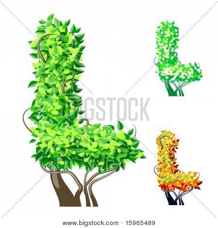 Vektor-Illustration eine zusätzliche detaillierte Baum Alphabet Symbole. Leicht abnehmbare Krone. Zeichen l