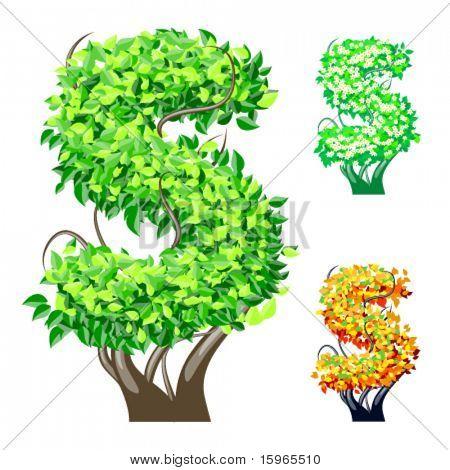 Vektor-Illustration eine zusätzliche detaillierte Baum Alphabet Symbole. Leicht abnehmbare Krone. Zeichen s