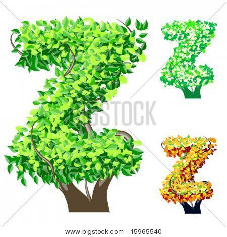 Vektor-Illustration eine zusätzliche detaillierte Baum Alphabet Symbole. Leicht abnehmbare Krone. Zeichen z