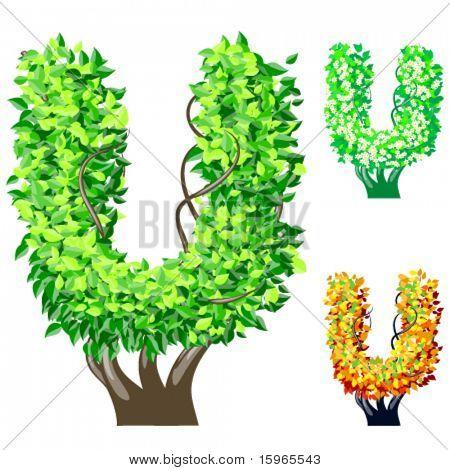 Vektor-Illustration eine zusätzliche detaillierte Baum Alphabet Symbole. Leicht abnehmbare Krone. Zeichen u