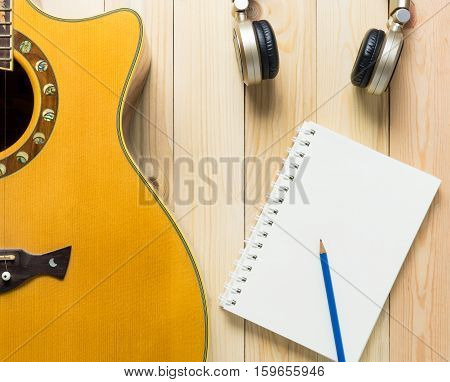 Music Song writing equipment Blank book guitar Headphone for song writing.