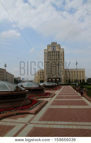 Independence Square and the Belarusian Pedagogical University. Belarus, Minsk