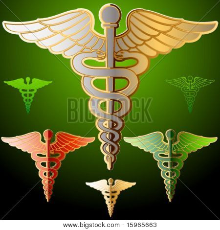 Abstract medical symbol. Golden style