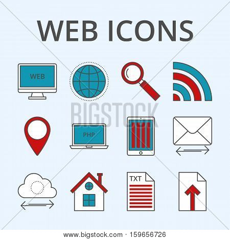 Vector illustration of a set of linear icons web design . Thin icon creation and support . Business illustration.